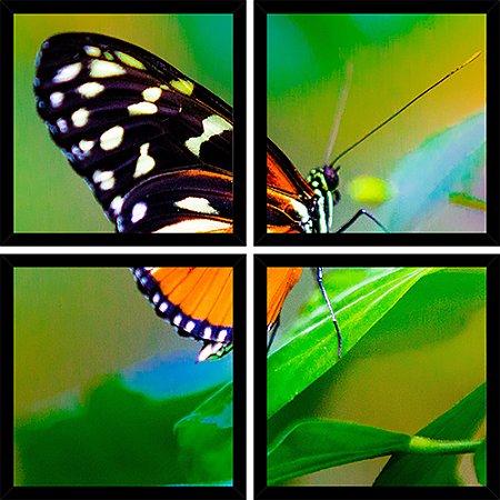 Quadro Mosaico 4 Partes Quadrado Borboleta Na Planta Art e Cia Preto