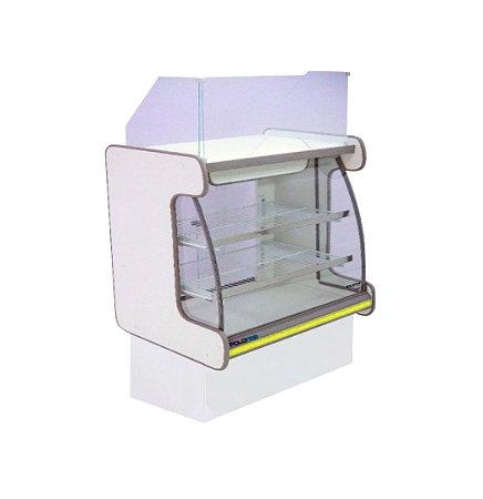 Balcao Caixa Vidro Semi Curvo Pop Luxo Polofrio Branco e Amarelo  1,25 M