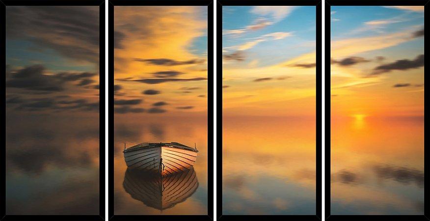 Quadro Mosaico 4 Partes Reto Barco No Mar Por Do Sol Art e Cia Preto