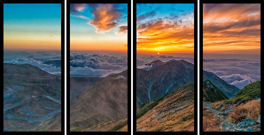 Quadro Mosaico 4 Partes Reto Por Do Sol Montanhas Art e Cia Preto
