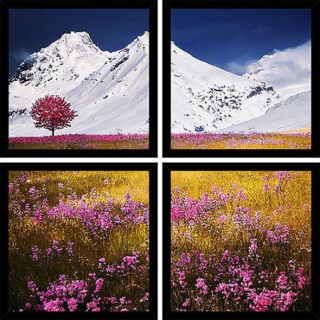 Quadro Mosaico 4 Partes Quadrado Arvore Rosa Na Neve Art e Cia Preto