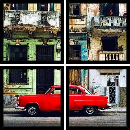 Quadro Mosaico 4 Partes Quadrado Carro Vermelho Havana Art e Cia Preto