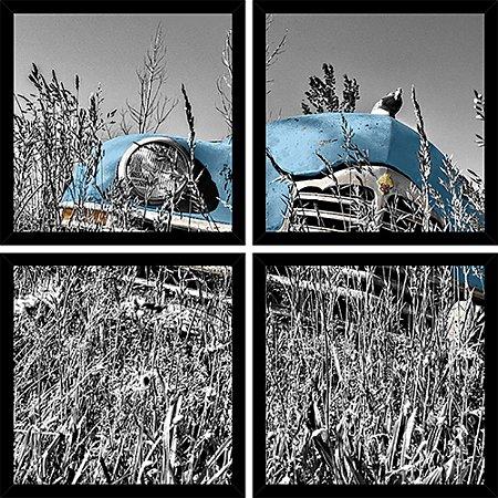 Quadro Mosaico 4 Partes Quadrado Old Timer Azul Art e Cia Preto