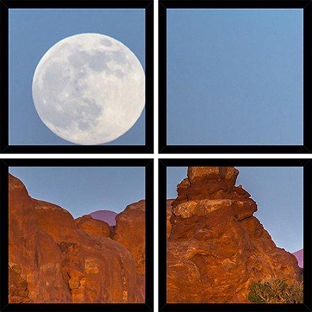 Quadro Mosaico 4 Partes Quadrado Lua Nas Montanhas Art e Cia Preto