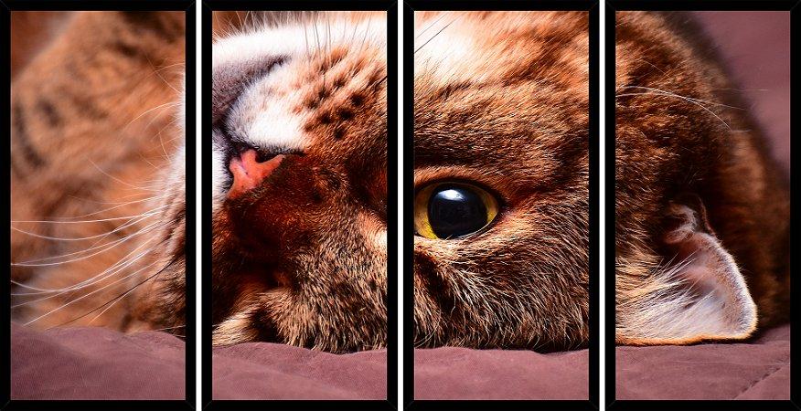 Quadro Mosaico 4 Partes Reto Gato Fofo Art e Cia Preto