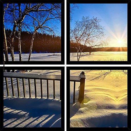 Quadro Mosaico 4 Partes Quadrado Dia de Neve Art e Cia Preto