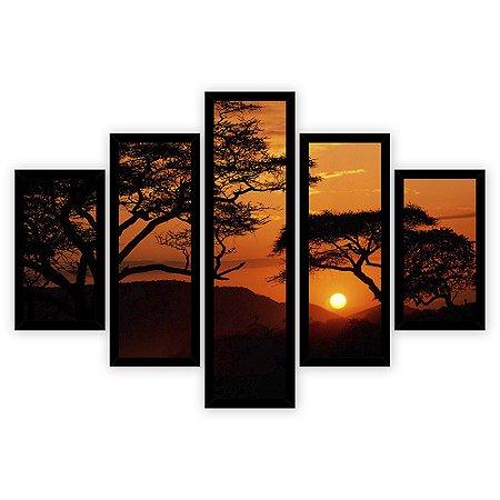 Quadro Mosaico 5 Partes Diferentes Por Do Sol com Arvores Quero Mais Quadros Preto