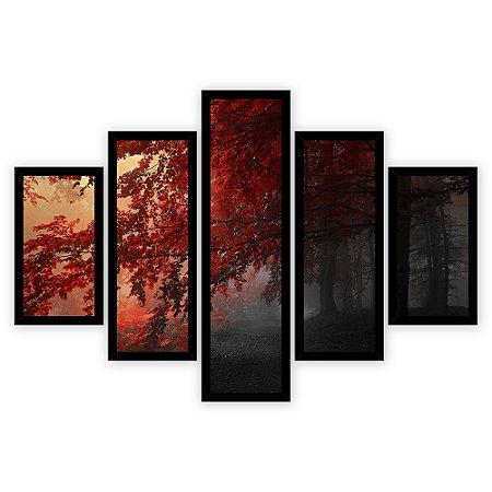 Quadro Mosaico 5 Partes Diferentes Arvore com Fohas Vermelhas Quero Mais Quadros Preto