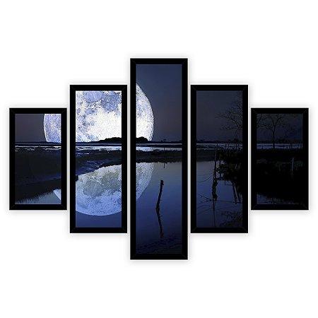 Quadro Mosaico 5 Partes Diferentes Lago com Lua Gigante Quero Mais Quadros Preto