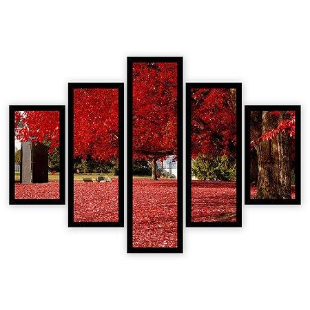 Quadro Mosaico 5 Partes Diferentes Arvore com Folhagens Vermelho Vivo Quero Mais Quadros Preto
