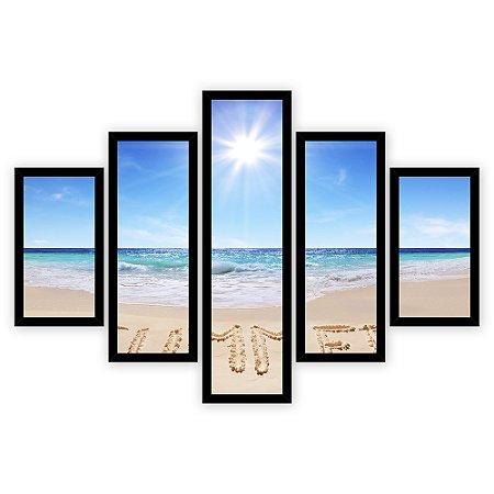 Quadro Mosaico 5 Partes Diferentes Summer Quero Mais Quadros Preto