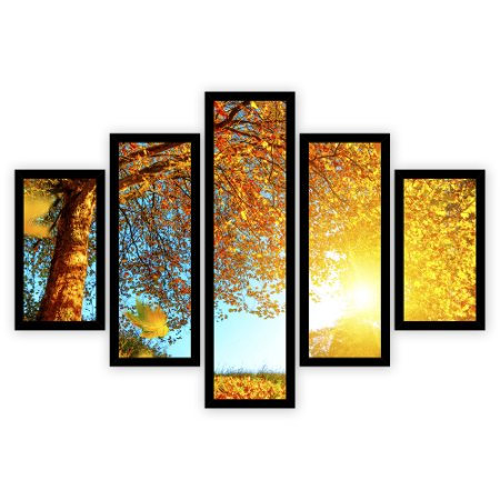 Quadro Mosaico 5 Partes Diferentes Arvore com Folhagens Amarelas Quero Mais Quadros Preto