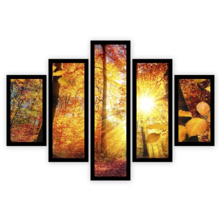 Quadro Mosaico 5 Partes Diferentes Arvore com Sol de Outono Quero Mais Quadros Preto