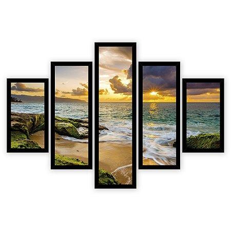 Quadro Mosaico 5 Partes Diferentes Por Do Sol Na Praia Quero Mais Quadros Preto