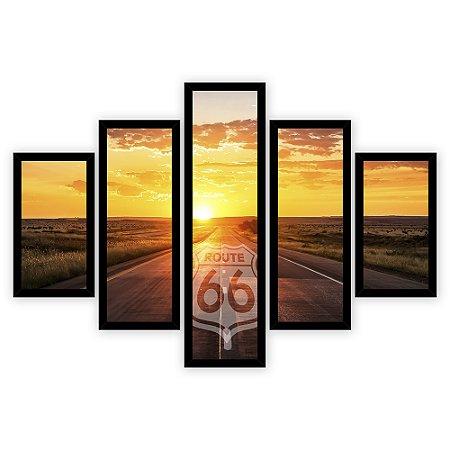 Quadro Mosaico 5 Partes Diferentes Route 66 Quero Mais Quadros
