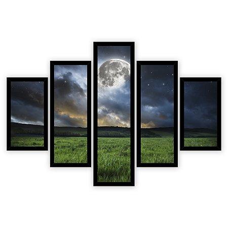 Quadro Mosaico 5 Partes Diferentes Campo com Lua Quero Mais Quadros Preto