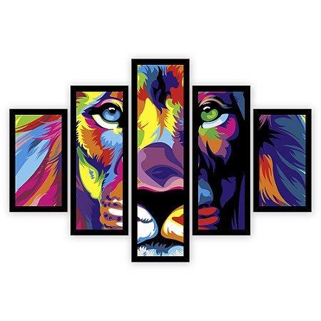 Quadro Mosaico 5 Partes Diferentes O Leao Colorido Quero Mais Quadros Preto