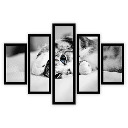 Quadro Mosaico 5 Partes Diferentes Gatinho de Olho Azul Quero Mais Quadros Preto