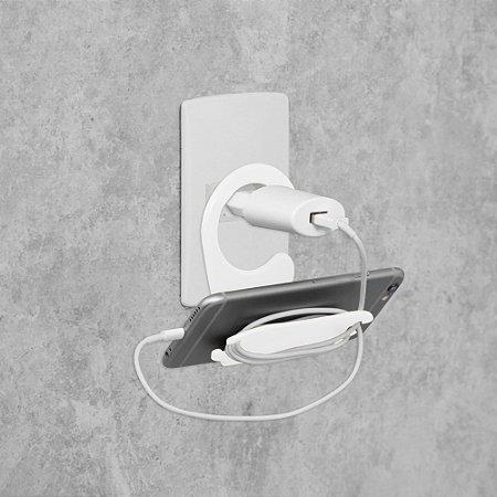 Suporte para Celular de Tomada Metaltru Branco