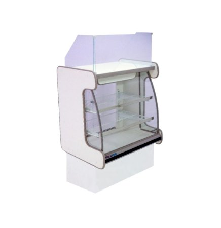 Balcao Caixa Vidro Semi Curvo Pop Luxo Polofrio Branco e Preto 80 Cm