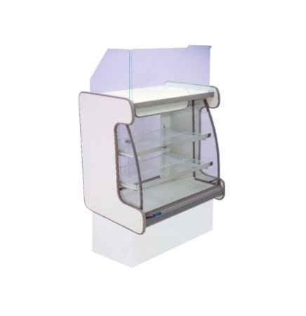 Balcao Caixa Vidro Semi Curvo Pop Luxo Polofrio Branco e Cinza 80 Cm