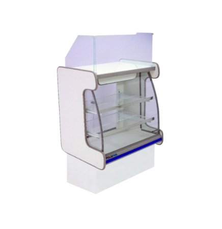 Balcao Caixa Vidro Semi Curvo Pop Luxo Polofrio Branco e Azul 80 Cm