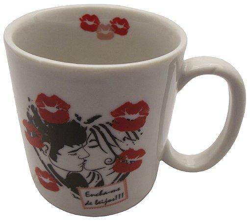 Caneca em Ceramica Namorados  encha-me de Beijos'  Koisas De Kozinha 300 Ml