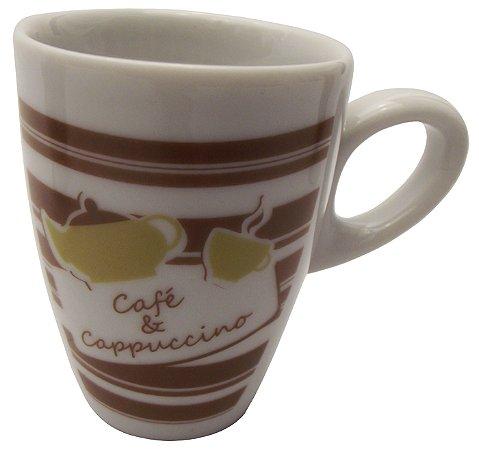 Mini Caneca em Ceramica para Cafe cappuccino  listras  Koisas de Kozinha 80 Ml