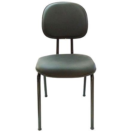 Cadeira Secretaria Fixa em Corino Solid Preto