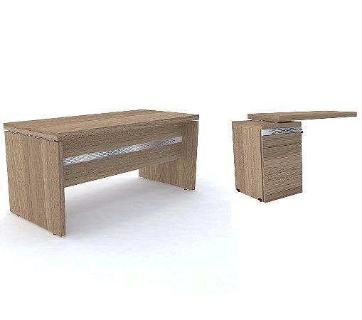 Mesa Diretor e Mesa Complemento Pe Gaveteiro com 3 Gavetas Pe50 Pandin Noce Naturale