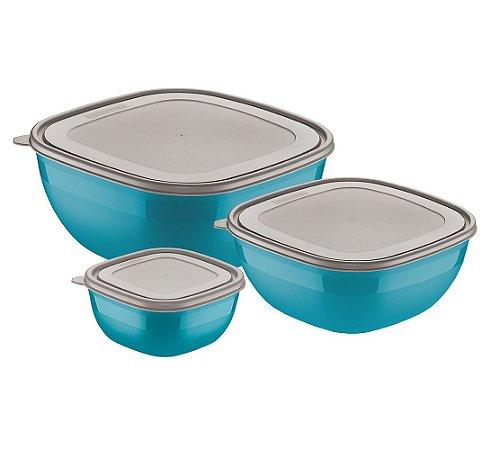 Jogo de Potes 3 Pecas em Polipropileno Mixcolor Tramontina Azul 30 Cm, 29 Cm