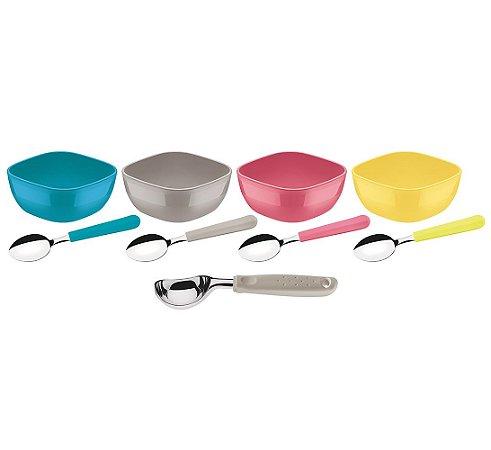 Kit para Sorvete 9 Pecas Mixcolor Tramontina Colorido