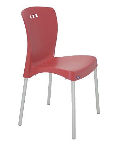 Cadeira Sem Bracos e Pernas Anodizadas Summa Tramontina Vermelho 88 Cm