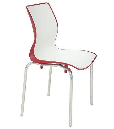 Cadeira Sem Bracos Pernas Polidas Summa Tramontina Branco e Vermelho 53 Cm