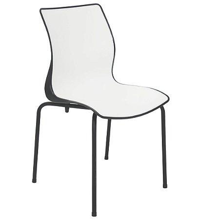 Cadeiras Sem Bracos Pernas Aco Pintado Summa Tramontina Branco e Preto 53 Cm
