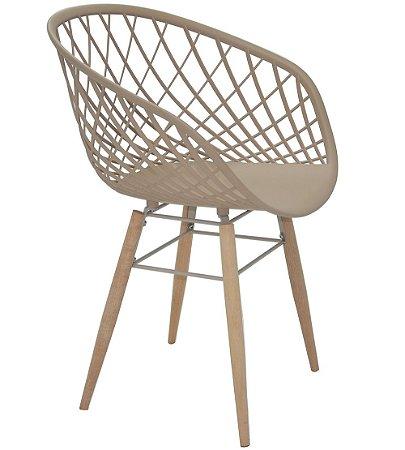 Cadeira com Pernas de Madeira Summa Tramontina Bege 82 Cm