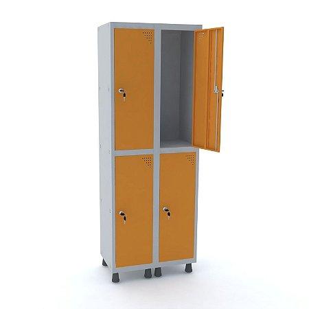 Roupeiro de Aco 2 Vaos 4 Portas com Fechadura Pandin Cinza e Laranja Picasso  1,90 M
