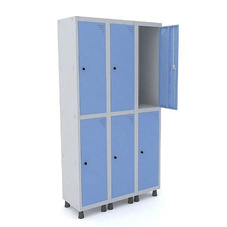 Roupeiro de Aco 3 Vaos 6 Portas com Pitao Pandin Cinza e Azul Dali  1,90 M