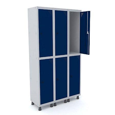 Roupeiro de Aco 3 Vaos 6 Portas com Pitao Pandin Cinza e Azul Del Rey  1,90 M