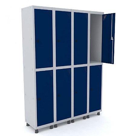 Roupeiro de Aco 4 Vaos 8 Portas com Pitao Pandin Cinza e Azul Del Rey  1,90 M