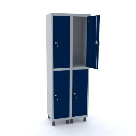 Roupeiro de Aco 2 Vaos 4 Portas com Fechadura Pandin Cinza e Azul Del Rey  1,90 M