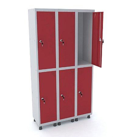 Roupeiro de Aco 3 Vaos 6 Portas com Fechadura Pandin Cinza e Vermelho  1,90 M