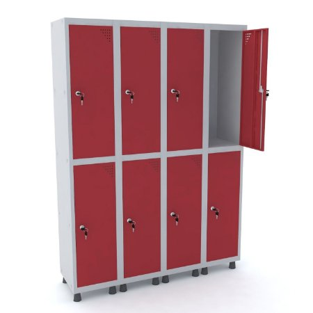 Roupeiro de Aco 4 Vaos 8 Portas com Fechadura Pandin Cinza e Vermelho  1,90 M