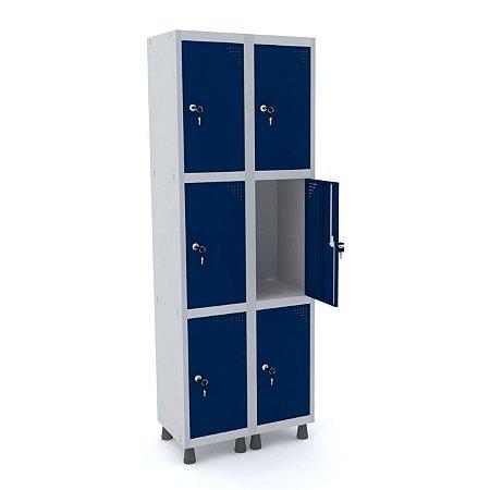 Roupeiro de Aco 2 Vaos 6 Portas com Fechadura Pandin Cinza e Azul Del Rey  1,90 M