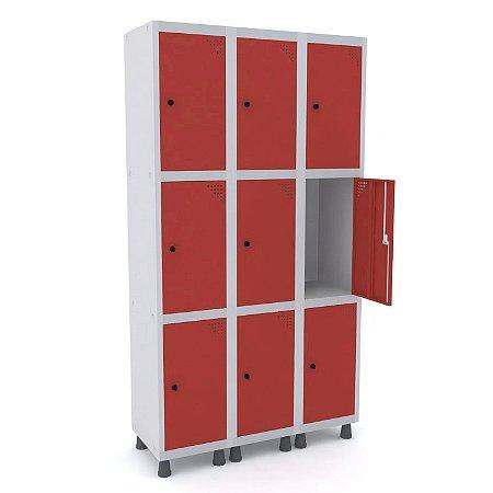 Roupeiro de Aco 3 Vaos 9 Portas com Pitao Pandin Cinza e Vermelho  1,90 M