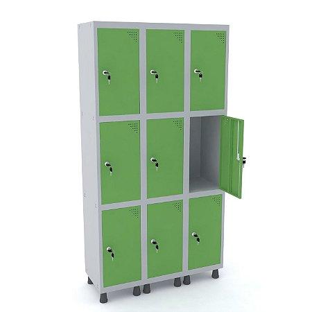 Roupeiro de Aco 3 Vaos 9 Portas com Fechadura Pandin Cinza e Verde Miro  1,90 M