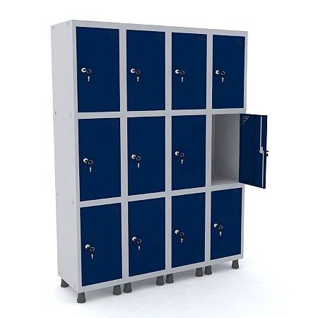 Roupeiro de Aco 4 Vaos 12 Portas com Fechadura Pandin Cinza e Azul Del Rey  1,90 M
