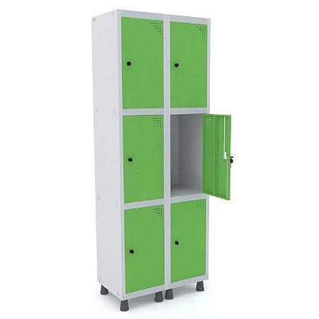 Roupeiro de Aco 2 Vaos 6 Portas com Pitao Pandin Cinza e Verde Miro  1,90 M