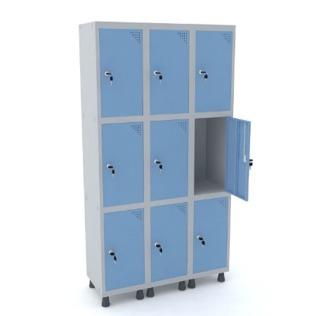Roupeiro de Aco 3 Vaos 9 Portas com Fechadura Pandin Cinza e Azul Dali  1,90 M