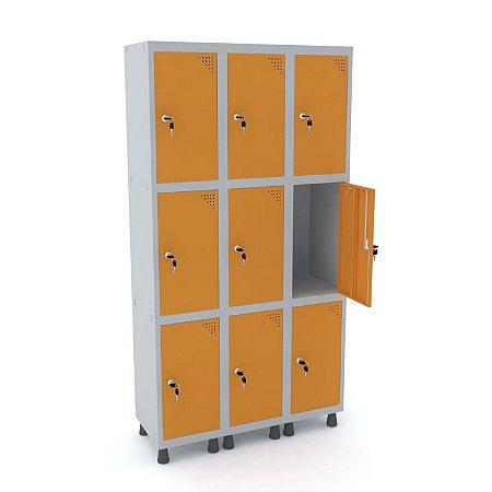 Roupeiro de Aco 3 Vaos 9 Portas com Fechadura Pandin Cinza e Laranja Picasso  1,90 M